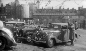 Dolomite 14/60 Royal Saloon at the Tower of London in 1958. The nearby Tiger Tavern was the venue of the Dolomite Association's AGM.
